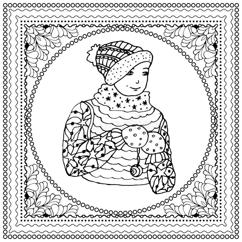 Czarna wektorowa mono kolor ilustracja dla Wesoło bożych narodzeń i Szczęśliwego nowego roku 2016 druku projekta Kolorystyki ksią ilustracji