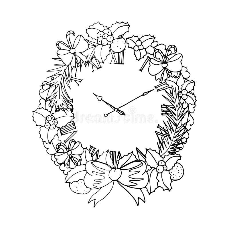 Czarna wektorowa mono kolor ilustracja z boże narodzenie wiankiem dla Wesoło bożych narodzeń i Szczęśliwego nowego roku 2016 druk ilustracja wektor