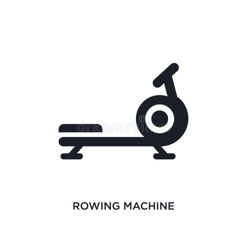 czarna wioślarskiej maszyny odosobniona wektorowa ikona prosta element ilustracja od gym i sprawności fizycznej pojęcia wektoru i royalty ilustracja