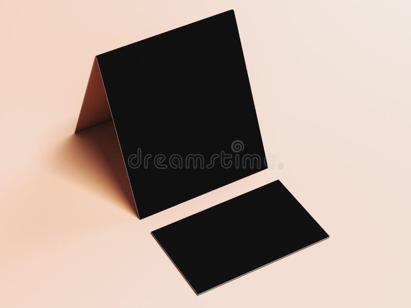 Czarna wizytówka i ulotka świadczenia 3 d ilustracja wektor