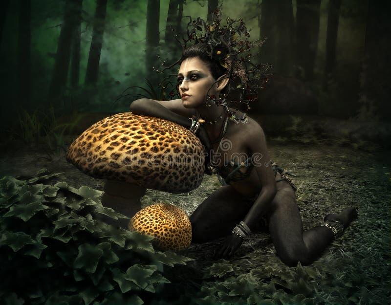 Czarna Wróżka Lasu, 3d CG ilustracji