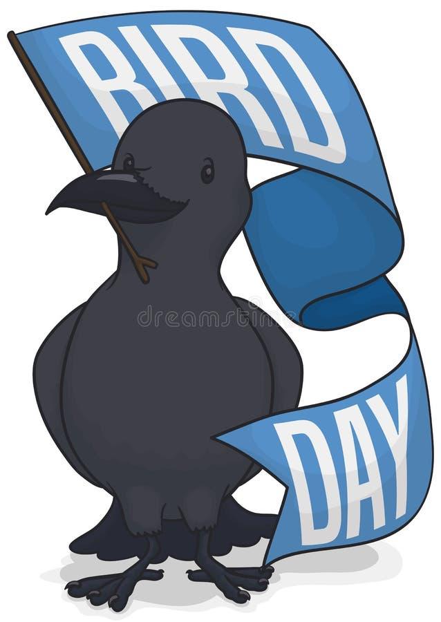 Czarna wrona Trzyma powitanie flagę Świętować Ptasiego dzień, Wektorowa ilustracja ilustracja wektor