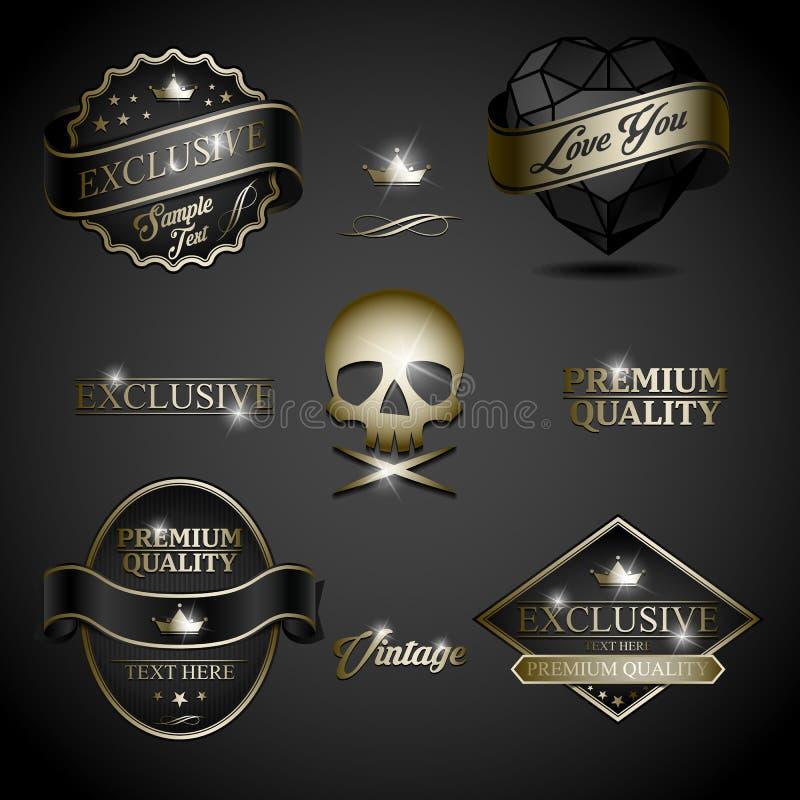 Czarna złocista etykietka ilustracji