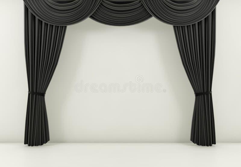 Czarna zasłona lub drapuje tło 3 d czynią ilustracja wektor