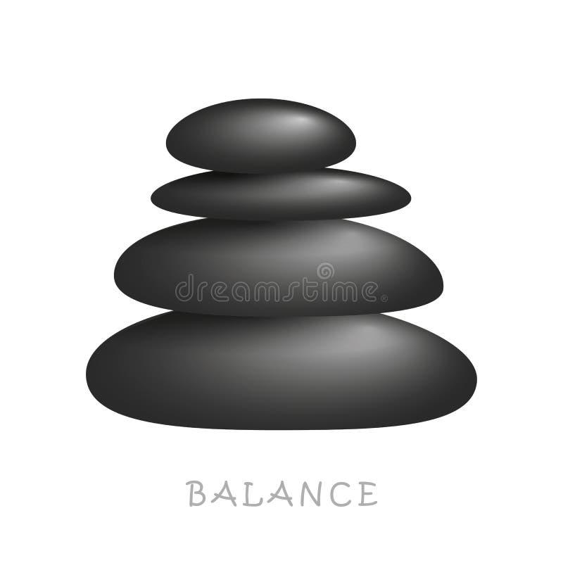 Czarna zen masażu kamieni równowaga ilustracja wektor