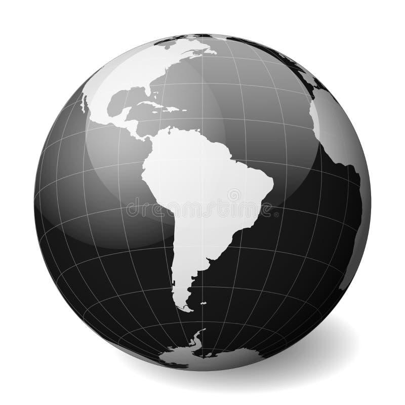 Czarna Ziemska kula ziemska skupiająca się na Ameryka Południowa Z cienkimi białymi południkami i paralelami 3D sfery glansowany  royalty ilustracja