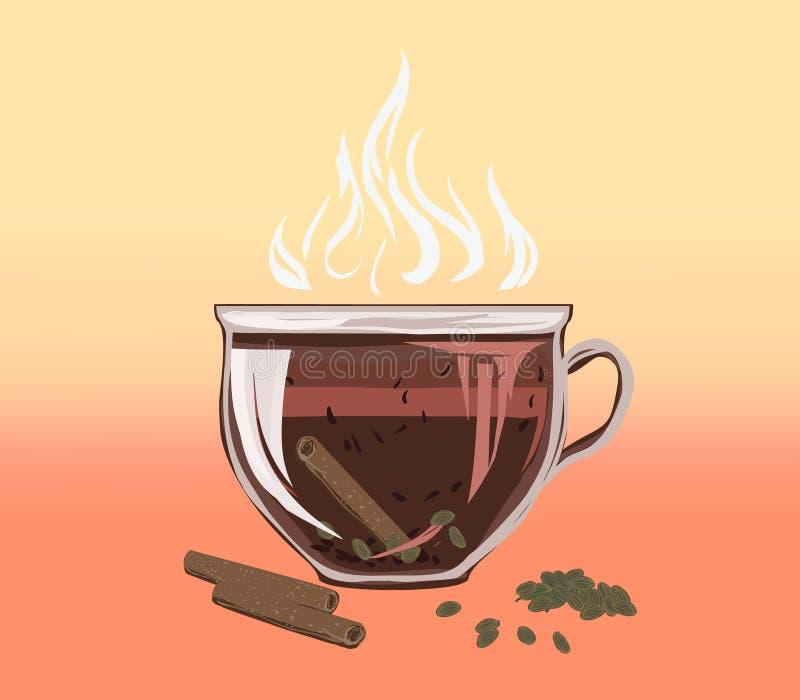 Czarna ziołowa herbata w puchar filiżance cynamon i gręplujący kardamon ilustracji