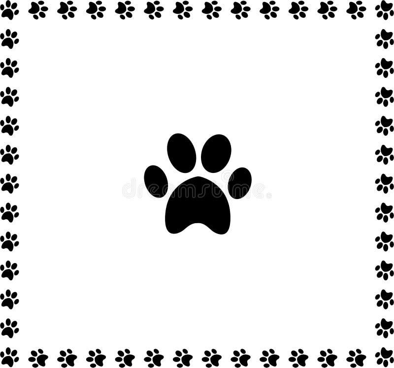 Czarna zwierzęca pawprint ikona obramiająca z łapa drukami graniczy ilustracji