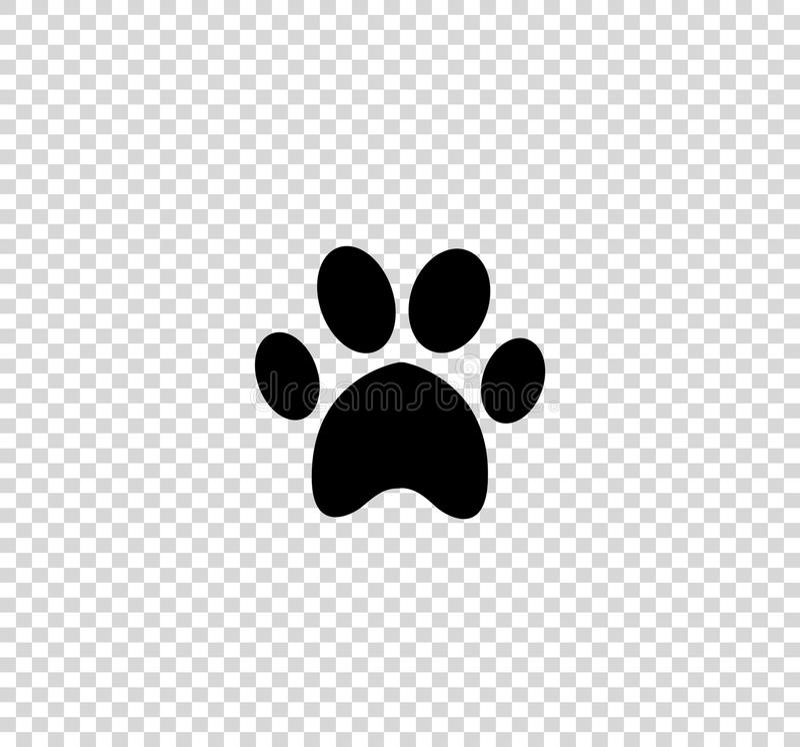 Czarna zwierzęca pawprint ikona odizolowywająca na przejrzystym tle royalty ilustracja