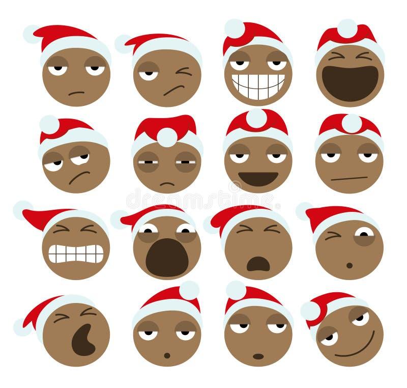 Czarne Święty Mikołaj bożych narodzeń ikony ilustracja wektor