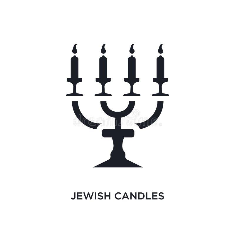 czarne żydowskie świeczki odosobnionej wektorowej ikony prosta element ilustracja od religii poj?cia wektoru ikon żydowskie świec ilustracji