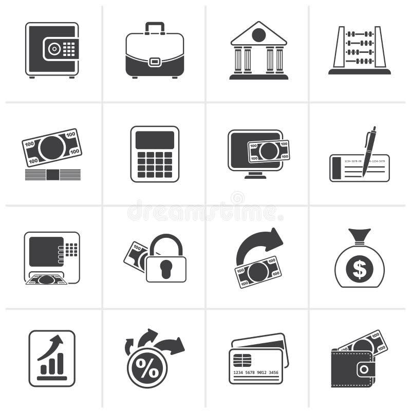 Czarne banka, biznesu i finanse ikony, royalty ilustracja