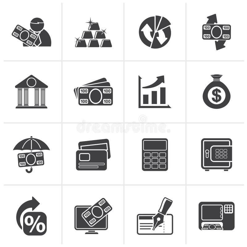 Czarne banka, biznesu i finanse ikony, ilustracja wektor