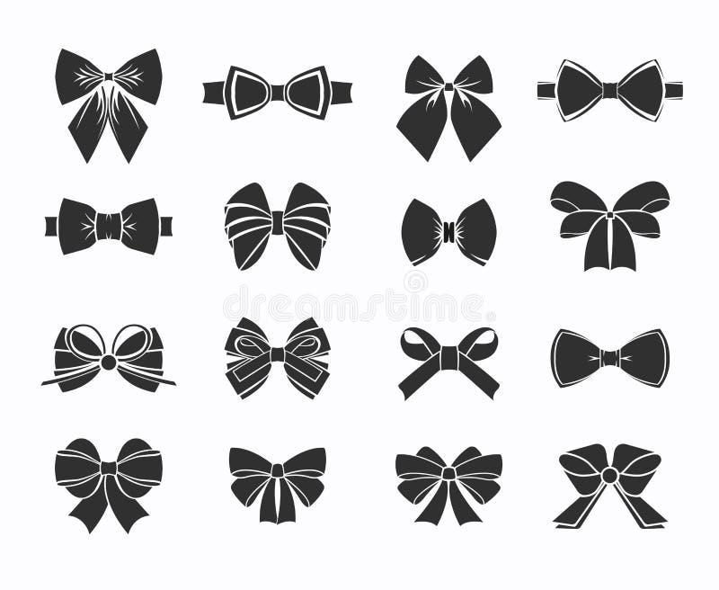 Czarne Dekoracyjne łęk ikony Ustawiać royalty ilustracja