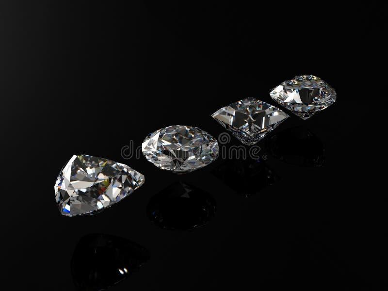 czarne diamenty odizolowane tło ilustracji