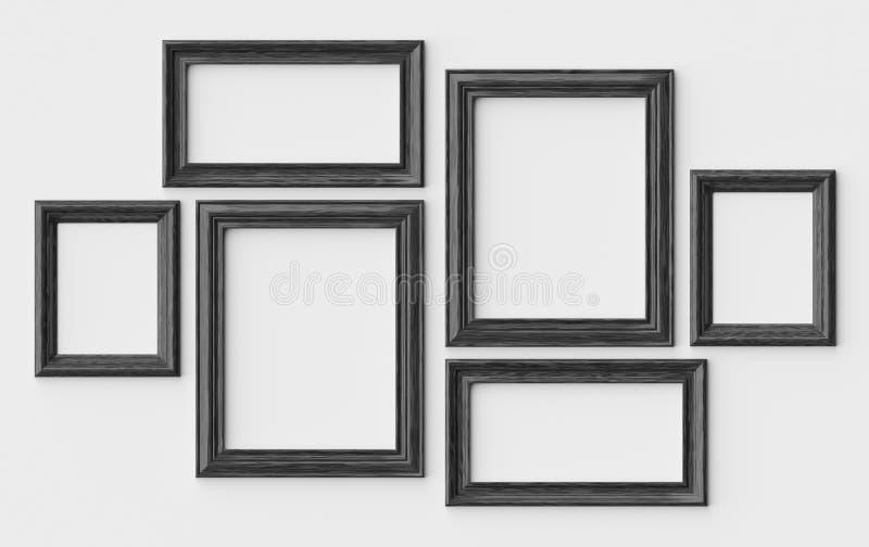 Czarne drewniane obrazka lub fotografii ramy na biel ścianie z cieniami ilustracja wektor