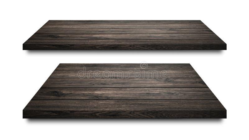 Czarne drewniane półki odizolowywać na białym tle Pusty drewniany półki lub produktu pokaz ?cinek ?cie?ka obrazy royalty free