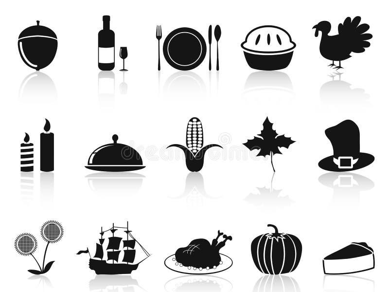 Czarne dziękczynienie ikony ustawiać ilustracji
