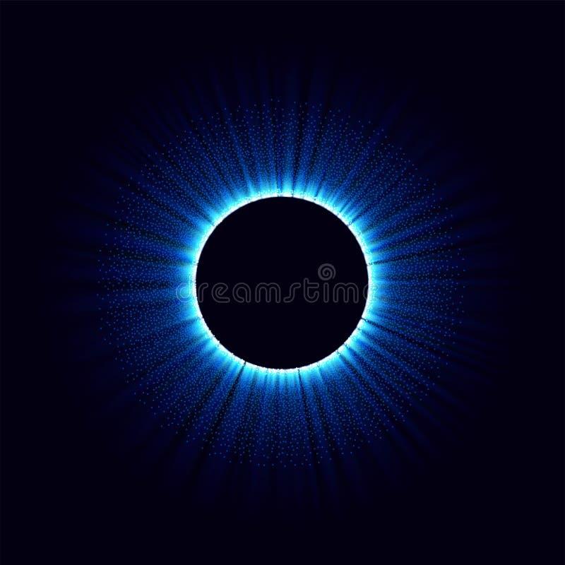 Czarne dziury w przestrzeni Abstrakcjonistyczny wektorowy tło z błękit tonującą dziurą w odosobnionym i zawijasem centrum lub col royalty ilustracja