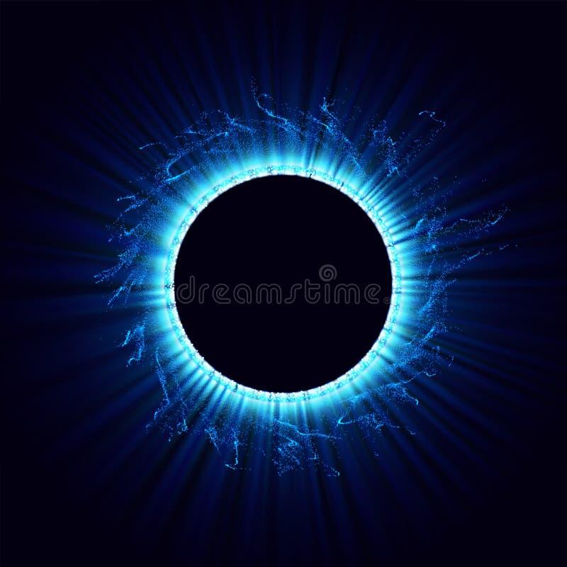Czarne dziury w przestrzeni Abstrakcjonistyczny wektorowy tło z błękit tonującą dziurą w odosobnionym i zawijasem centrum lub col ilustracji