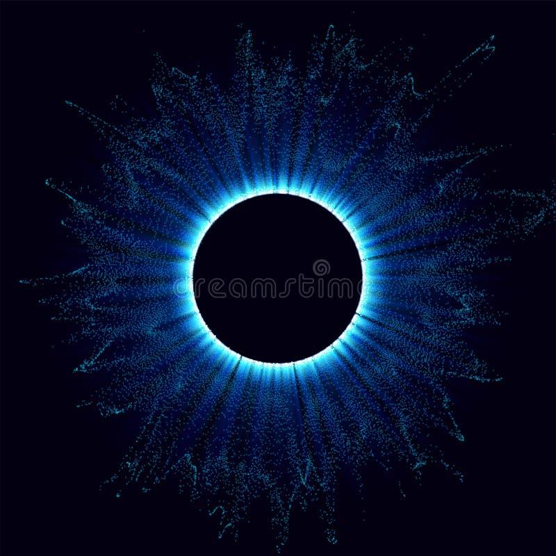 Czarne dziury w przestrzeni Abstrakcjonistyczny wektorowy tło z błękit tonującą dziurą w odosobnionym i zawijasem centrum lub col ilustracja wektor