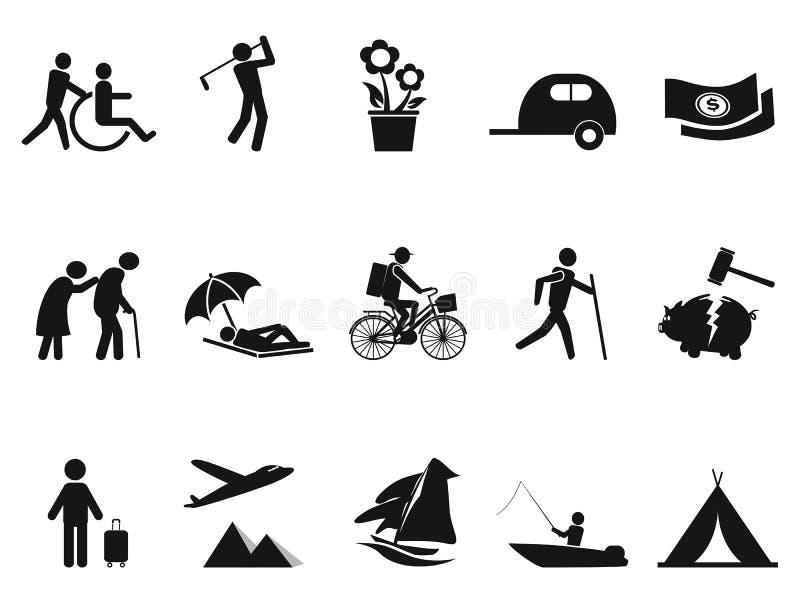 Czarne emerytura życia ikony ustawiać ilustracja wektor