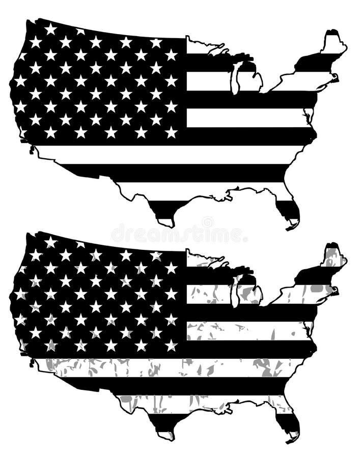 czarne flaga biały usa royalty ilustracja