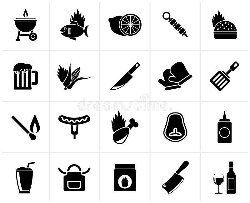 Czarne grilla i grilla ikony ilustracji