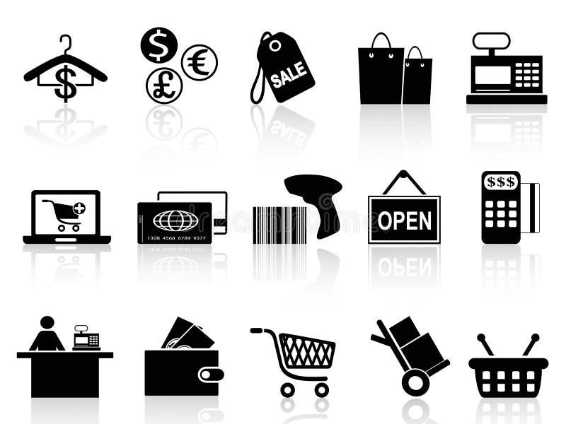 Czarne handlu detalicznego i zakupy ikony ustawiać royalty ilustracja