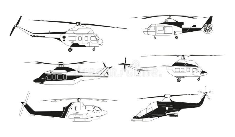 Czarne helikopter sylwetki Wektorowi obrazki avia transport ilustracja wektor