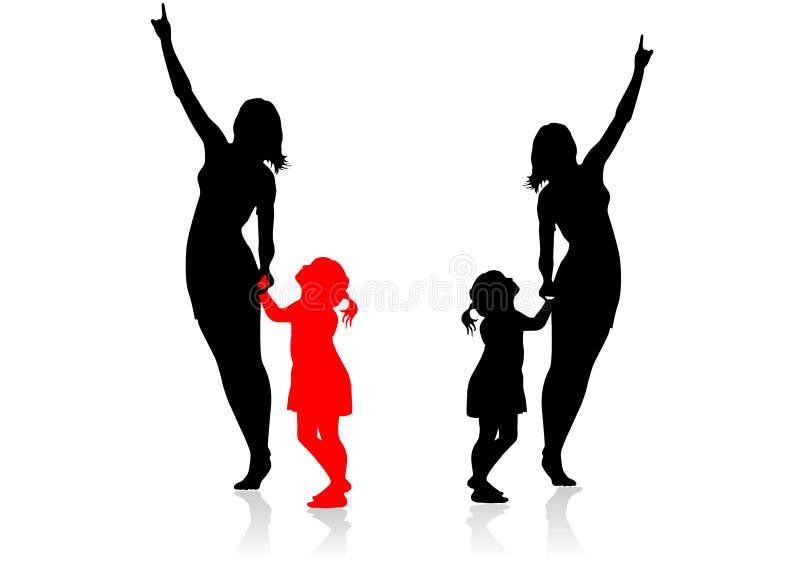 Czarne i barwione sylwetki które pokazują coś z interesem do siebie matka i córka, ilustracja wektor