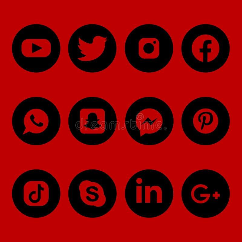 Czarne i czerwone ogólnospołeczne medialne ikony ustawiać wręczają patroszonego ilustracja wektor