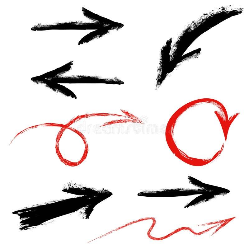 Czarne i czerwone strzała ustawiać ilustracji