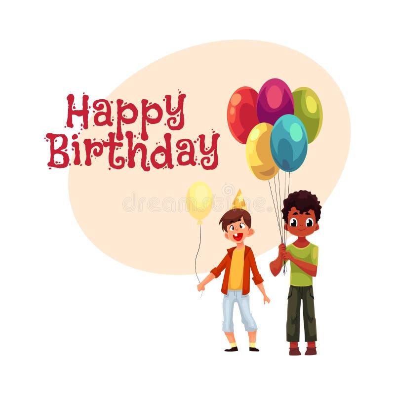 Czarne i Kaukaskie chłopiec z balonami, urodzinowy świętowania przyjęcie ilustracji