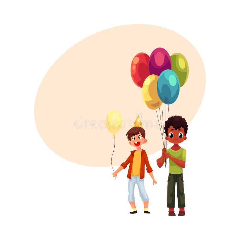 Czarne i Kaukaskie chłopiec z balonami, urodzinowy świętowania przyjęcie ilustracja wektor