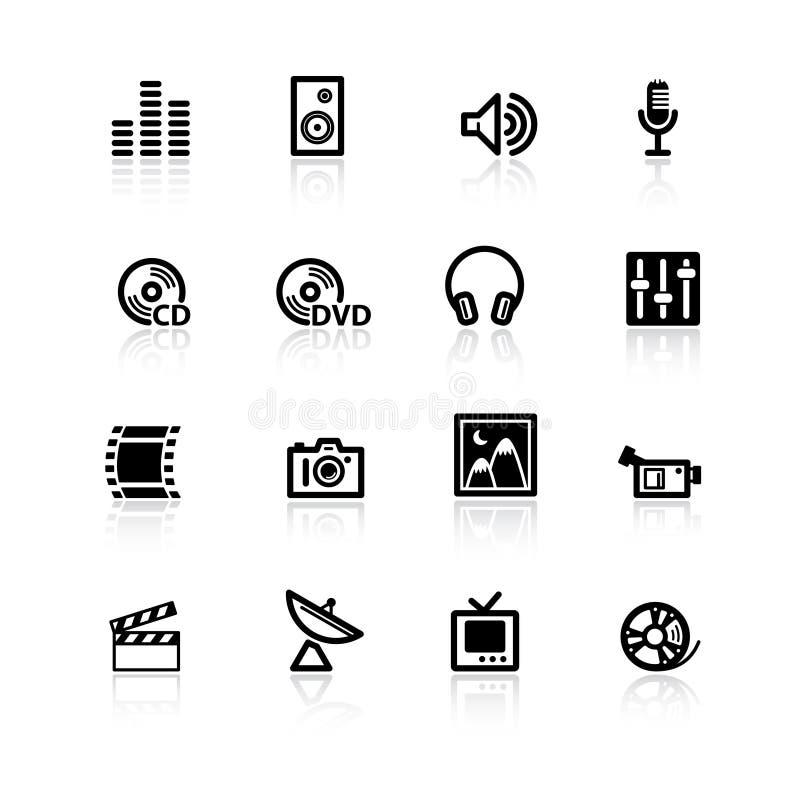 czarne ikony medialnych