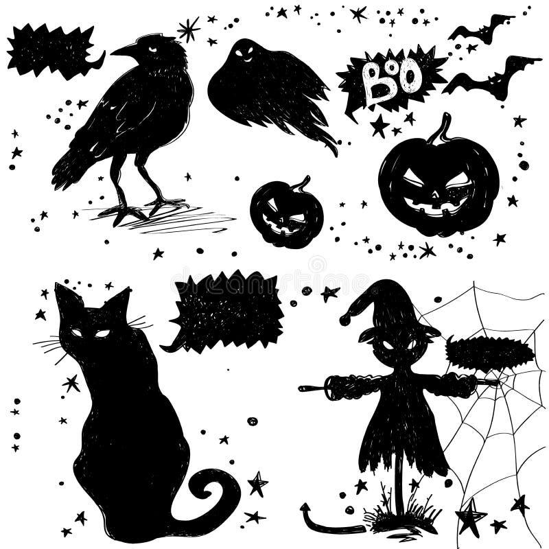 czarne ikony Straszne ilustracje dla kartka z pozdrowieniami Szczęśliwy Halloween ilustracja wektor