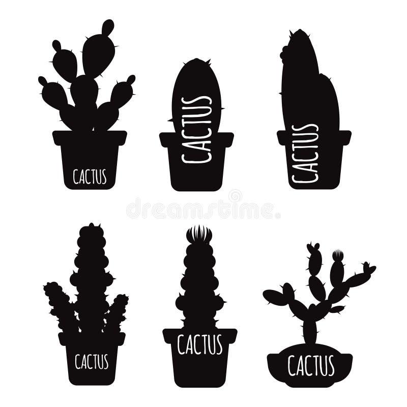 Czarne kaktusowe sylwetki odizolowywać na białym tle ilustracja wektor