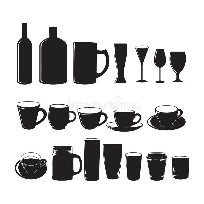 Czarne kieliszki do kawy filiżanka do kawy, butelka do wina, piwa, herbaty lub mleka lub kawy do ilustracji kawiarni, restauracji ilustracji