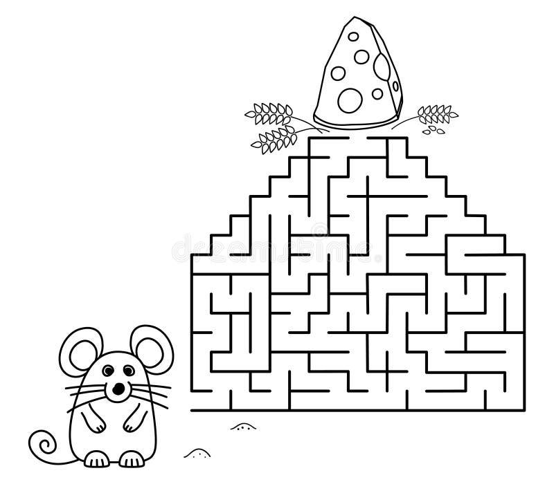 Czarne kolorowe strony z labiryntem Mysz kartonowa i ser Dzieci edukacja sztuki gry na białym tle Wektor konturu ilustracji
