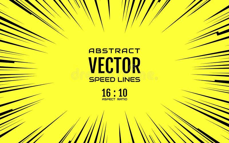 Czarne komiczne promieniowe prędkości linie na kolorze żółtym opierają się 16:10 ilustracji