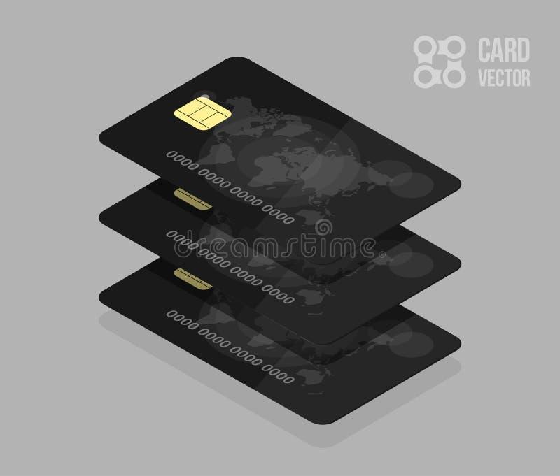 Czarne kredytowe karty Dla deponować pieniądze app lub miejsce royalty ilustracja