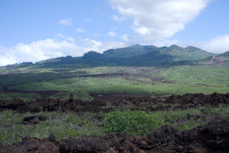 Czarne lawowe skały wykładają brzeg przy Keanae na drodze Hana w Maui, Hawaje obrazy royalty free