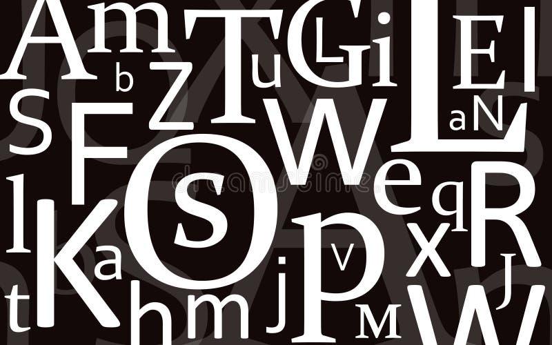 czarne litery mieszanka ilustracja wektor