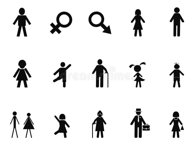 Czarne męskie żeńskie kij postaci ikony ustawiać royalty ilustracja