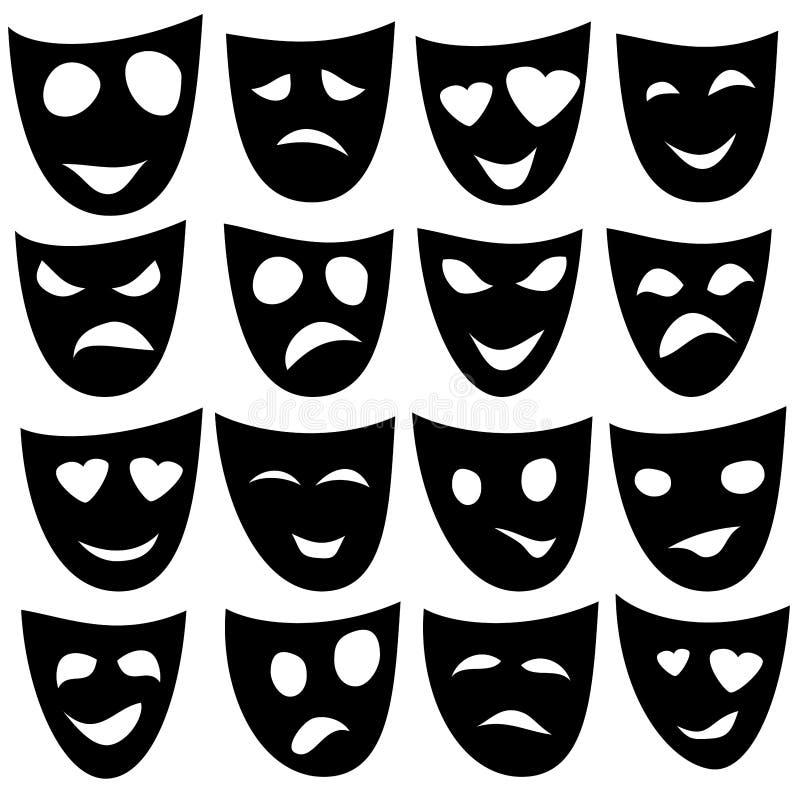 Czarne Maskowe różne emocje wektor ilustracji