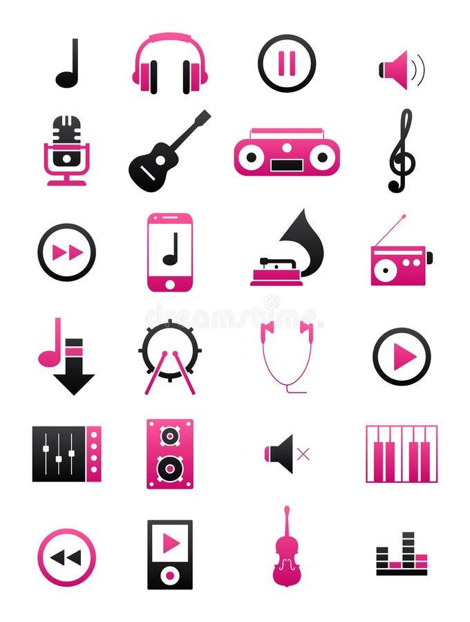 Czarne muzyczne ikony ustawiać ilustracji
