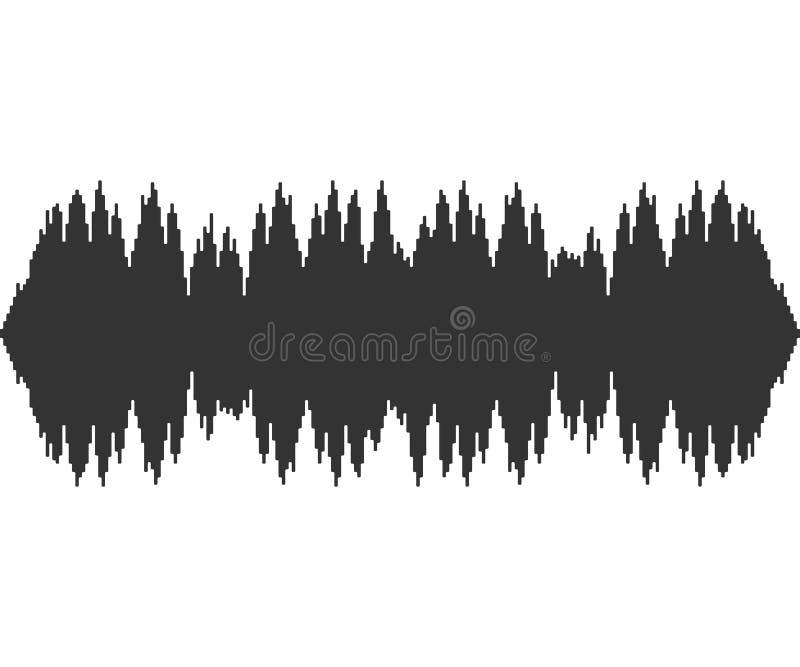 Czarne muzyczne rozsądne fala na białym tle Audio technologia, muzykalny puls również zwrócić corel ilustracji wektora ilustracji