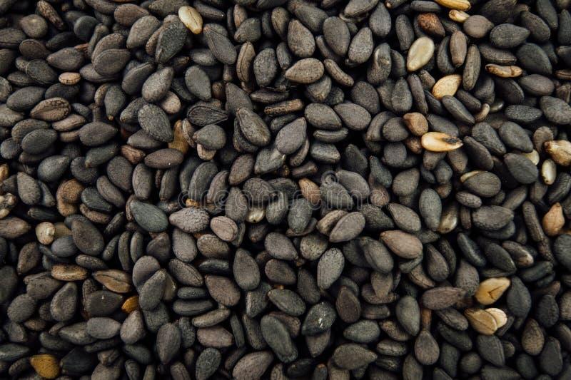 czarne nasiona sezamu zdjęcia royalty free