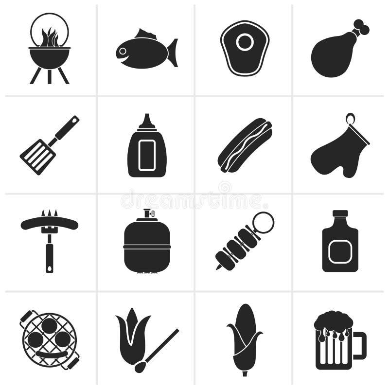 Czarne opieczenia i grilla ikony ilustracja wektor